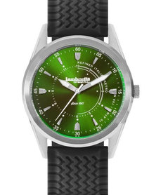 Mens Lambretta Watch Waterproof Green Dial & Rubber Straps