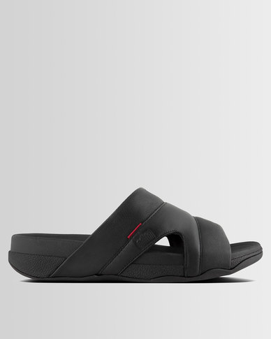 Fitflop Slides Pool Mens Freeway Leather Black mN80wn