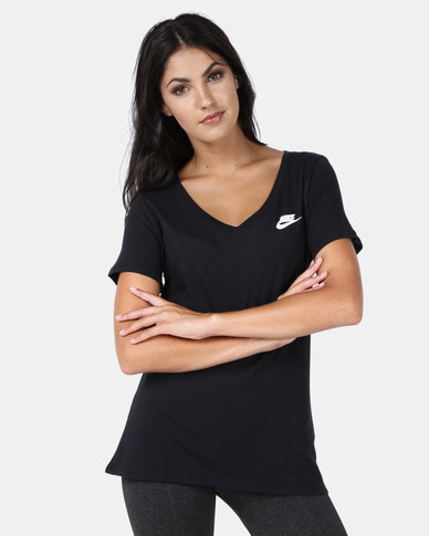 Nike NSW V-Neck LBR Tee Black/White