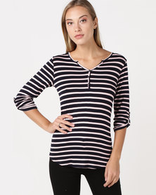 Queenspark Fashion Striped 3/4 Sleeve Lace Back Knit Top Pink/Colour