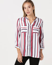cath.nic By Queenspark Striped Woven Top Multi