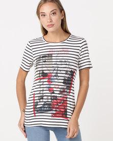 cath.nic By Queenspark Saint Germain Striped Knit Top White/Colour