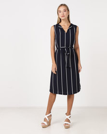 cath.nic By Queenspark Striped Woven Dress Navy