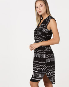 cath.nic By Queenspark Zig Zag Printed Woven Dress Black/White