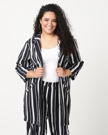 Queenspark Soft Striped Woven Jacket Navy