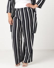 Queenspark Pull On Striped Woven Pants Navy