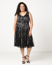 Queenspark Updated Ribbon Mesh Printed Glamour Knit Dress Black/Colour