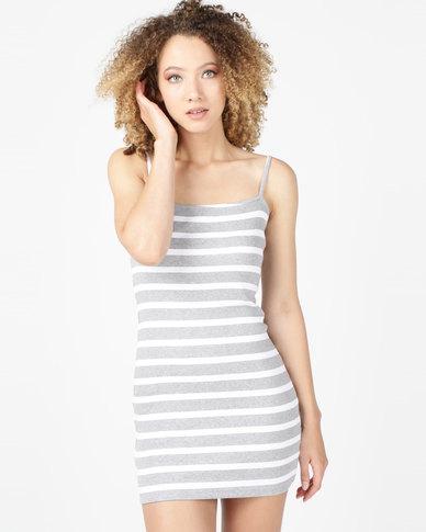 Utopia Rib Camisole Dress Grey/White