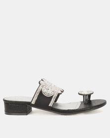 Queenspark Shimmer Toe Thong On Low Heels Black
