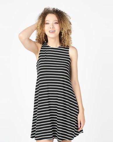 Utopia Sleeveless A-Line Dress Black/White Stripe