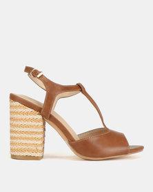 Bata Ladies Square Heel T Bar Back Strap Sandals Tan
