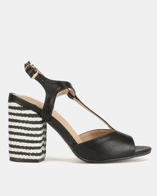 Bata Ladies Square Heel T Bar Back Strap Sandals Black