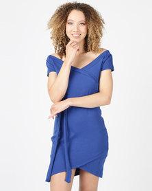 Utopia Rib Wrap Dress Blue