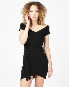 Utopia Rib Wrap Dress Black