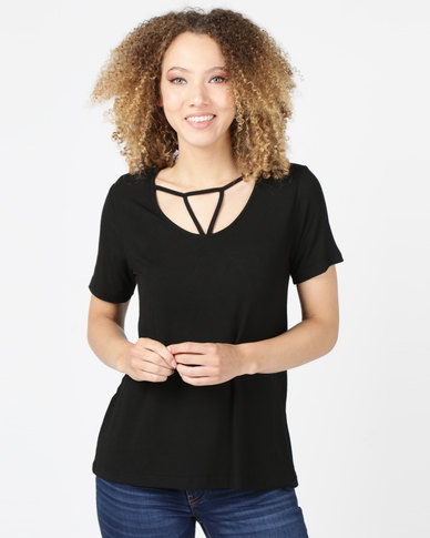 Utopia Top With Strappy Front Black