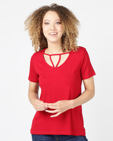 Utopia Top With Strappy Front Red