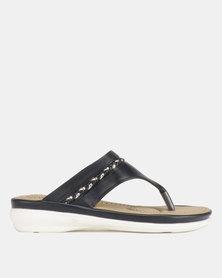 Bata Comfit Ladies Flat Thong Sandals Navy
