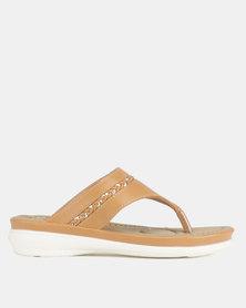 Bata Comfit Ladies Flat Thong Sandals Camel