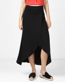 Utopia Knit Wrap Skirt Black