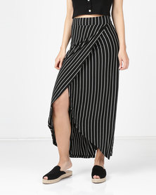 Utopia Knit Wrap Skirt  Black/White Stripe