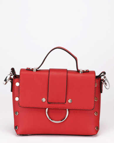 New Look Olivia Round Metal Crossbody Bag Bright Red