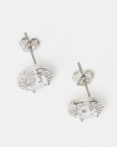 New Look CZ Sparkle Round Stud Earrings Crystal Silver-Toned