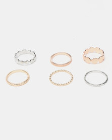 New Look Beaten Disc Ring Stack Multi