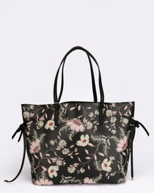 New Look Floral Print PU Tie Side Pattern Tote Bag Black