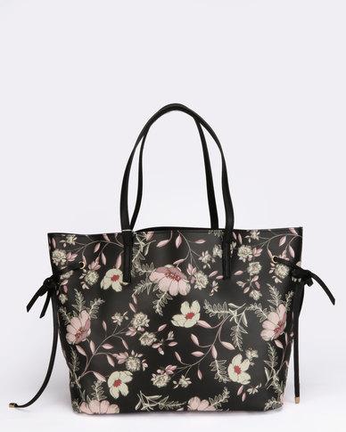 New Look Floral Print PU Tie Side Pattern Tote Bag Black