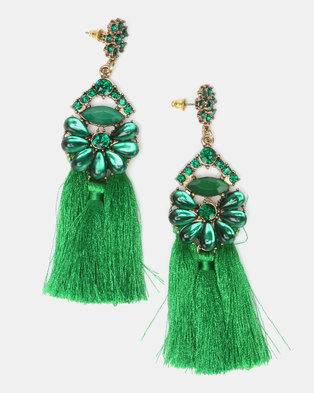 New Look Glam Tassel Earrings Dark Green