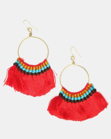 New Look Woven Detail Slinky Fan Hoop Earrings Red