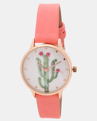 New Look Cactus Print Dial Strap Watch Multi