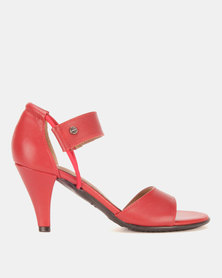 Froggie Minky Heeled Sandals Red