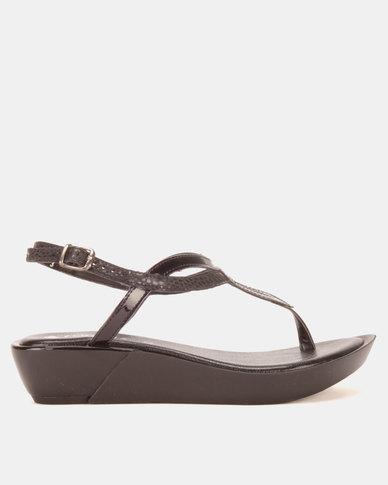 Froggie Rox Wedge Sandals Black/Iguana/Pat