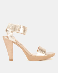 Froggie Mia Barely There Platform Sandals Gold