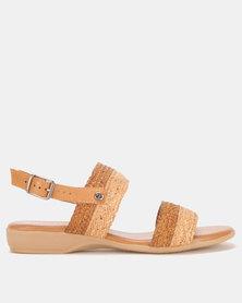 Froggie Leather Ida Flat Sandals Tan