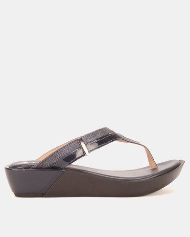 Froggie Rox Thong Wedge Sandals Navy