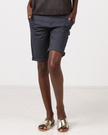Jeep 30CM Stretch Twill Stripe & Plain Chino Shorts Charcoal