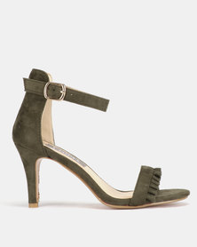 Utopia Frill Heeled Sandals Olive