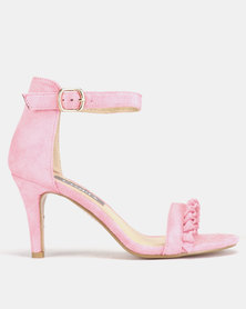 Utopia Frill Heeled Sandals Pink