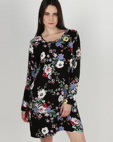 Gee Love It Tie Sleeve Shift Dress Bright Floral