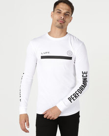 Live Fit Underline Long Sleeve White
