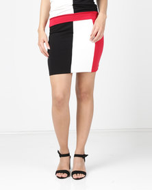 N'Joy Pencil Colourblock Skirt Black/Cream/Red