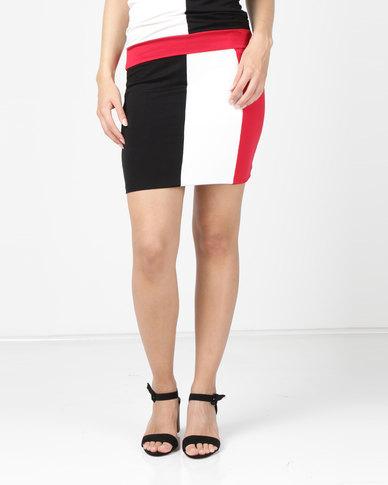N'Joy Pencil Colourblock Skirt Black/Cream/Red
