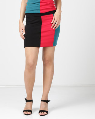 2c29c84ef N'Joy Pencil Colourblock Skirt Black/Petroleum/Red