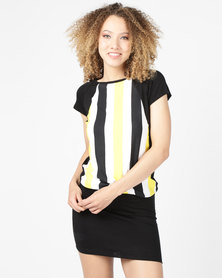 N'Joy Stripe Colourblock Dress Black/Yellow Stripe