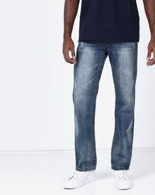 New Noble Straight Leg Washed Denim Jeans Light Blue