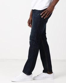 New Noble Straight Leg Washed Denim Jeans Dark Blue