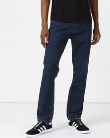 New Noble Straight Leg Washed Denim Jeans Denim Blue