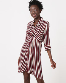 Utopia Stripe Knot Dress Burgundy